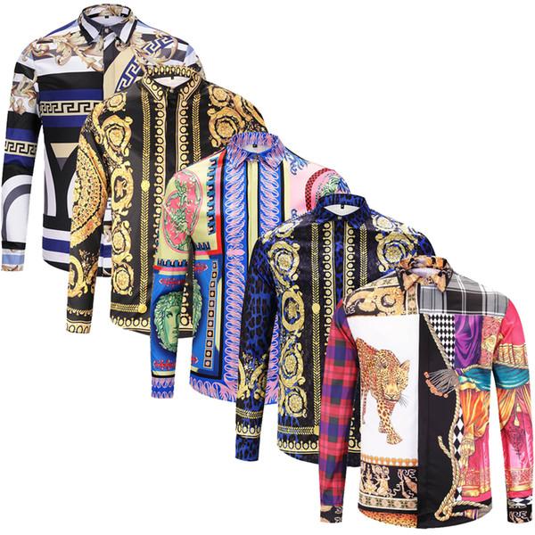 best selling Brand New fashion long sleeve mens dress shirts Silk cotton slim fit men casual shirts luxury Medusa shirts