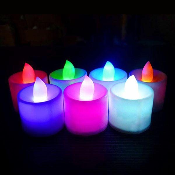 Ámbar LED Luz de té Plástico 6 Colores Forma de la vela LED Fliker Velas sin llama Luz para el banquete de boda Decoración de vacaciones ZA5774