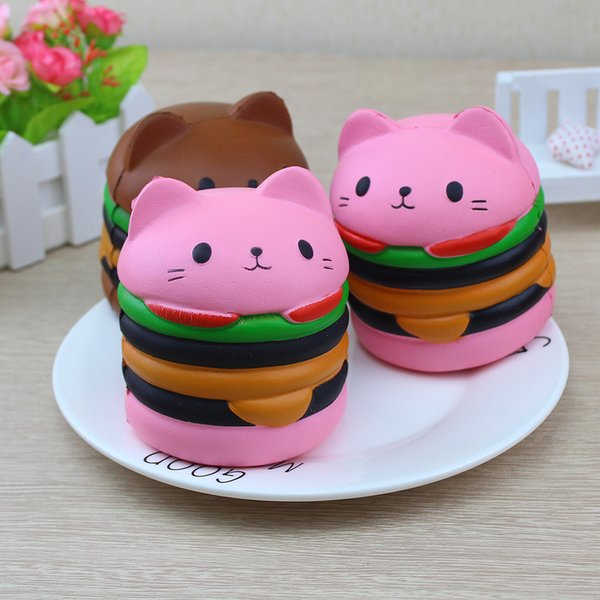 top popular Cat Head Burger Squishy Slow Rising Toys Simulation Food Super Soft Slow Rebound Bounce Props Novelty Funny Toys666 2019