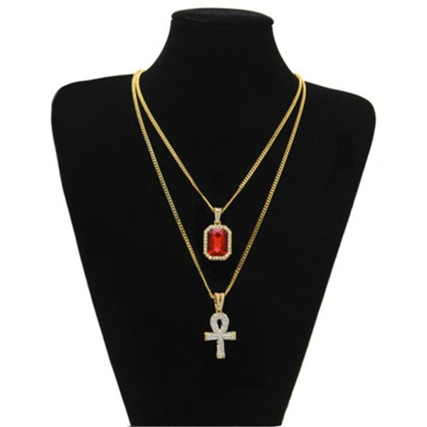 Egyptian Ankh Key of Life Bling Rhinestone Cross Pendant With Red Ruby Pendant Necklace Set Men Fashion Hip Hop Jewelry KKA1854
