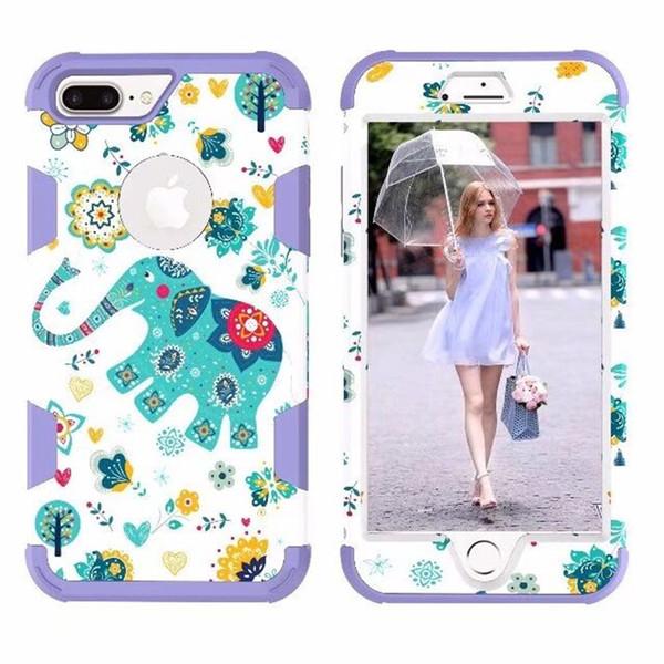 Nueva caja del teléfono del elefante de la etiqueta engomada del agua de la moda 2018 para iPhone8 más caso a prueba de caídas, a prueba de polvo, del teléfono móvil