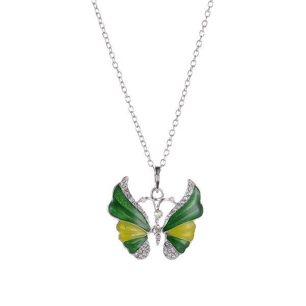 Prebeauty Argento Epossidica Farfalla Collana Multi colori smalto Collana pendente a farfalla con strass Gioielli in metallo vintage per le donne
