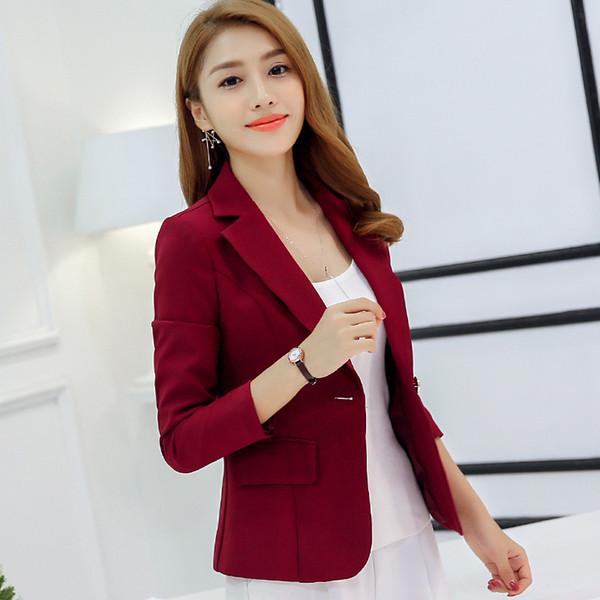 Single Button Business Ladies Blazers Women 2018 Spring Autumn Slim Solid Women Suit Short Jacket Blazer Femme Office Tops Coats