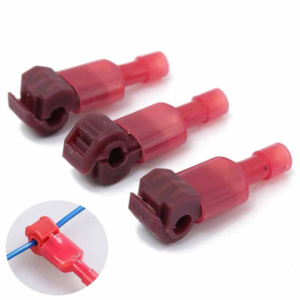 40pcs/set Red Wire Cable Connectors T-Taps & Male Insulated Quick Splice Lock Wire Terminals Connectors Set 22-18AWG 0.5-1.5mm2