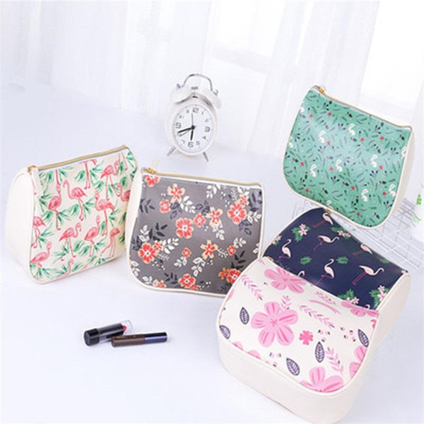 PU Leather Makeup Bag Cute Printed Flower Cosmetic Storage Bag For Women Waterproof Wash Pouch High Quality 12hd BB