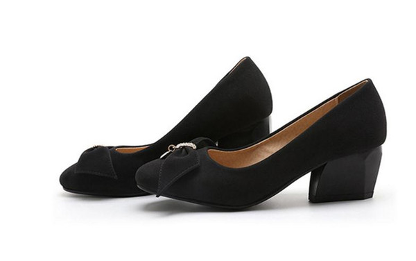Free send Hot Spring and autumn New style Water drill bowknot square head Coarse heel female single shoes