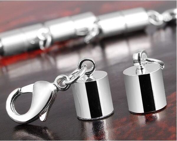 Livraison gratuite 50 PSC magnétique boucle cuivre placage blanc k droit baril boucles magnétiques ensembles de collier solide pour le fermoir à mousqueton