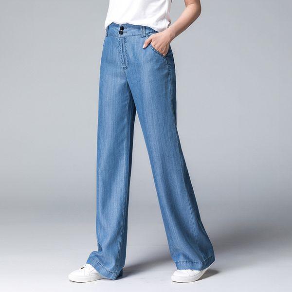 Mulheres jeans ACRMRAC Novo outono azul Branqueada Magro cintura Alta Lazer Solto calças de pernas Compridas Lyocell calças Comprimento Total Das Mulheres