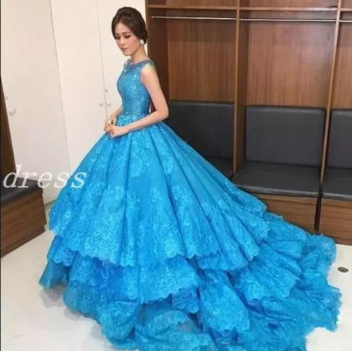2019 Sky Blue Elegant Evening Dresses Jewel Sweep Train Lace Appliques Tiered Formal Prom Party Gowns Red Carpet Wear Special Occasion Dress