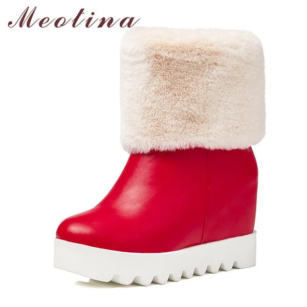 Toptan Platformu Çizmeler Kış Kadın Kar Botları Peluş Kama Yüksek Topuk Orta Buzağı Çizmeler Kürk Sıcak Ayakkabı Kırmızı Beyaz Büyük Boy 42 43