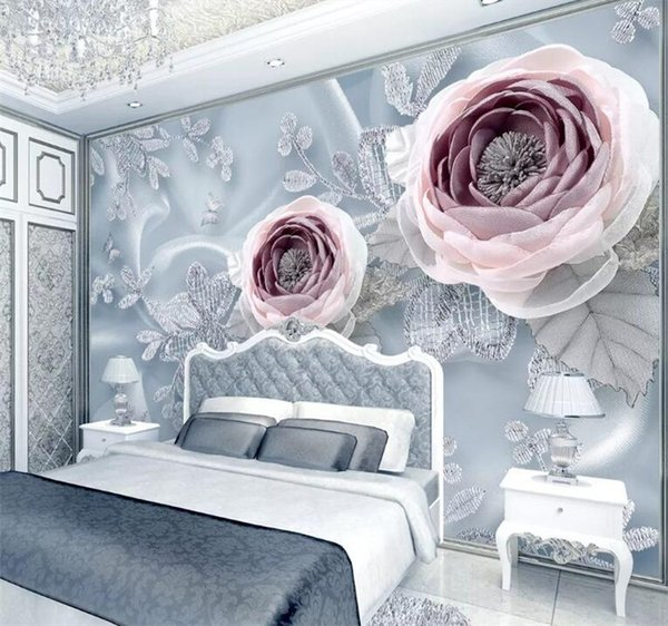 Ramadan Decoration Silk Lace Flower Wallpaper 3d Stereoscopic Living Room Home Wall Decor Wallpaper for Walls 3 d Custom Size