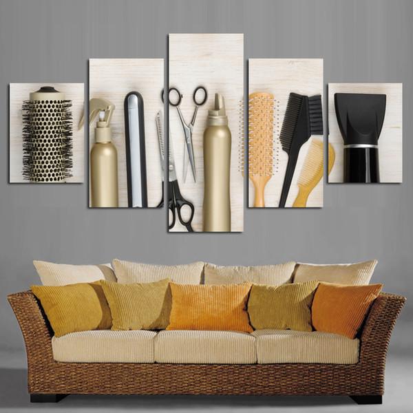 Acheter Moderne Peinture Sur Toile Outils De Salon De Coiffure 5 Pièce  Toile Image Imprimer Décoration De La Maison Sur Le Mur Pour Le Salon FA20  ...