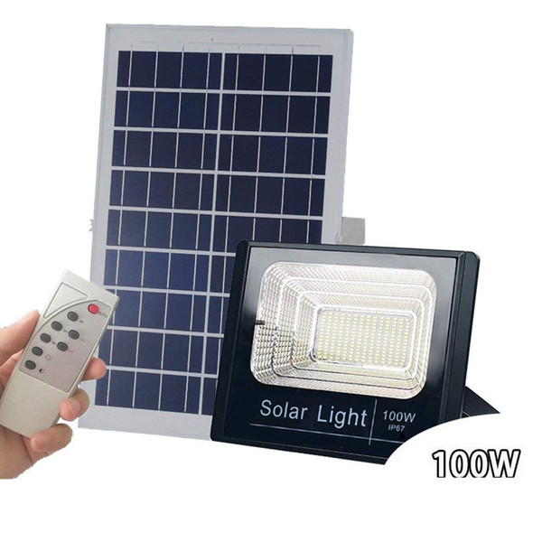 Solar Powered LED Flood Lights 10W 40W 60W 100W Remote Control Waterproof Solar Security Floodlight Fixture for Outdoor Wall Garden Yard