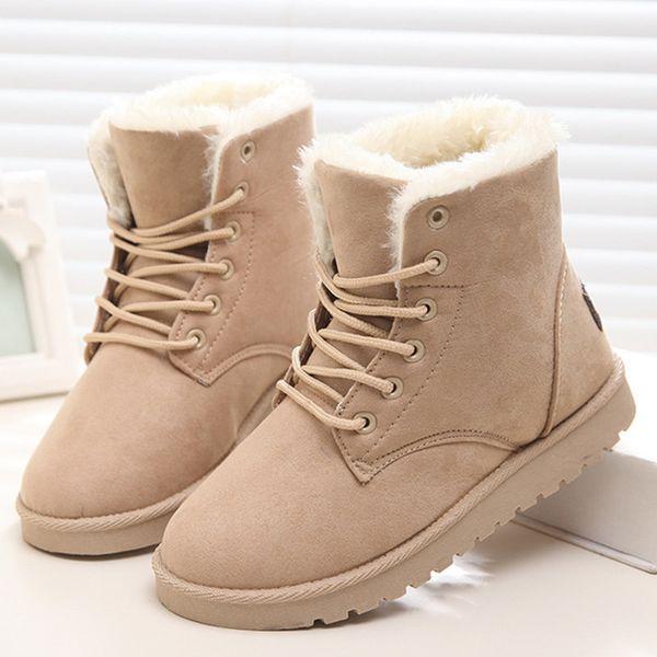 2019 Women Winter Warm Ankle Snow Boots Ladies Platform Flats Fur Suede Classic Lace Up Black Shoes Female Fashion Plus Size Footwear