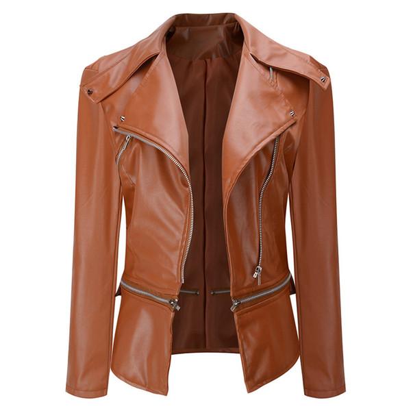 New Women Faux Leather Jacket Gothic Punk Motorcycle Biker Jackets Bomber Cool Rivet Zipper Black Outwear Female Coats