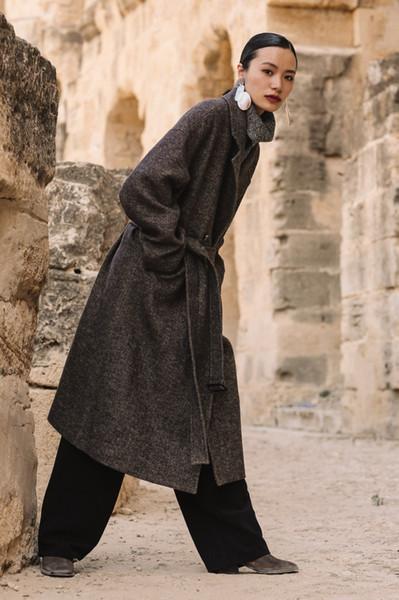 ROYAUME-UNI 2017 Automne Hiver Femmes Simple Laine Maxi Long conception robe Ceinture Manteau Femme Survêtement Manteau Femme Abrigos Mujer