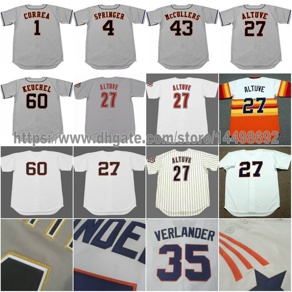 factory price b5ff3 677fd 2017 S 5xl Mens/Womens/Youths 1 Carlos Correa 4 George Springer 27 Jose  Altuve 43 Lance Mccullers 60 Dallas Keuchel Houston Throwback Jerseys From  ...