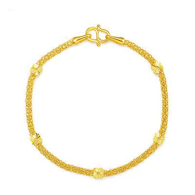 New Pure 999 24K catena in oro giallo donna Lucky O Link Flower Bracelet 6.8inch