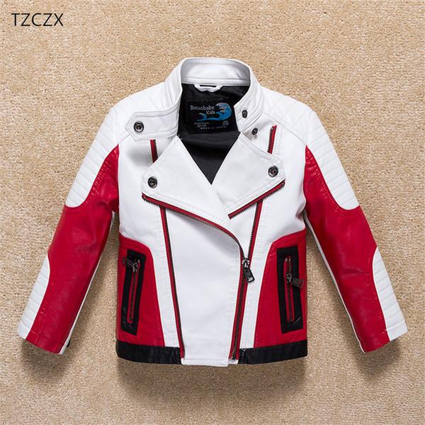 Neue Winter Kinder Jungen Oberbekleidung Mäntel Mode Farbe Patchwork Marke Lederjacke Für 3-12 Jahre Alt Kinder Tragen Kleidung