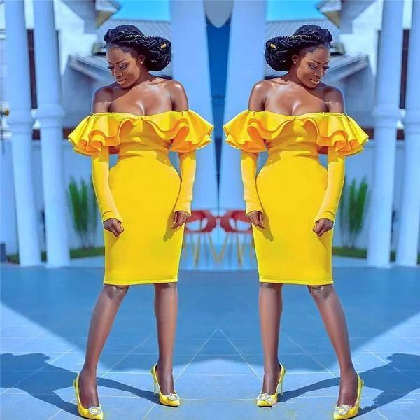 Sexy Jaune Longueur Au Genou Cocktail Robes 2019 Plus La Taille Hors Épaule Manches Longues Africain Arabe Formelle Soirée Robes De Célébrité