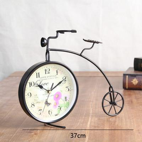 Decorative Retro Table Desktop Clocks Living Room Bedroom Bicycle Vintage Alarm Clock Nostalgic Ornaments Table Desktop Watches