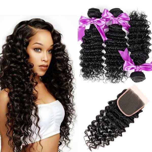 8A Deep Wave With Closure 3 Bundles Brazilian Virgin Hair With Closures Peruvian Indian Malaysian Hair Bundles Human Hair Weave With Closure
