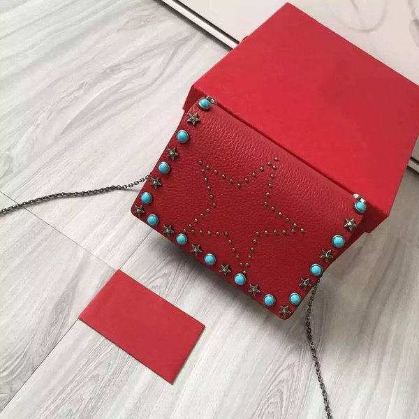 2017 New Famous fashion brand classic riveted mini shoulder bag high quality leather WOC star Mosaic 17cm luxury bag