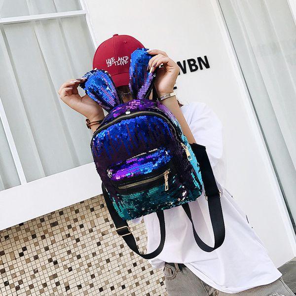 Fashion Women Rabbit Ears Girls Backpack PU Sequins Zip Fastener Casual Shopping Handbag Student School Bags 19 5xc ff