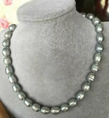 12-13mm South Sea Baroque Gray Pearl Necklace 18 inch 14k Gold Clasp