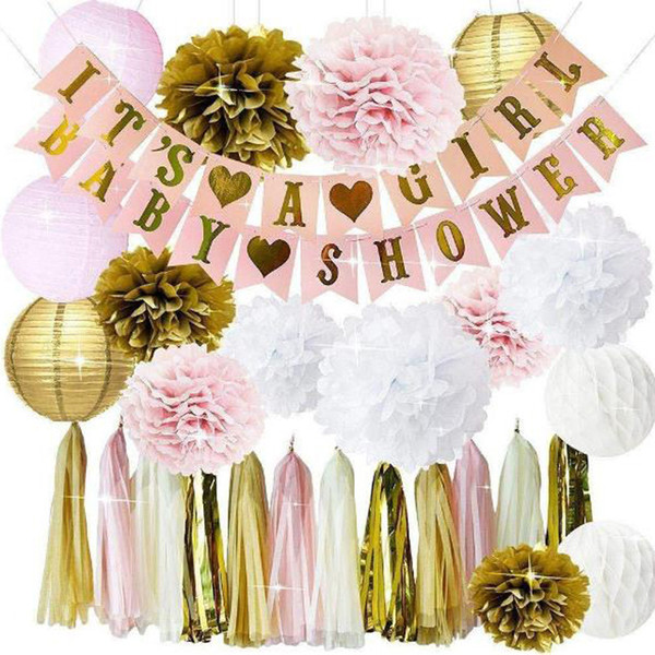 New Its A Girl Baby Shower Banner Paper Flowers Honeycomb Balls Rain Curtain Fringed String Birthday Party Baptism Decoration