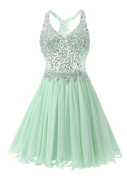 Mint Green Crystals Homecoming Dresses for Teenager Crystals Beading Different Colors Cute Girls Short Party Dresses for Prom Real Photos