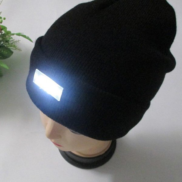 5 LED light Hat Warm Winter Beanies Gorro Fishing Angling Camping Black Caps Knitting Woolen Hat 2018 Fashion