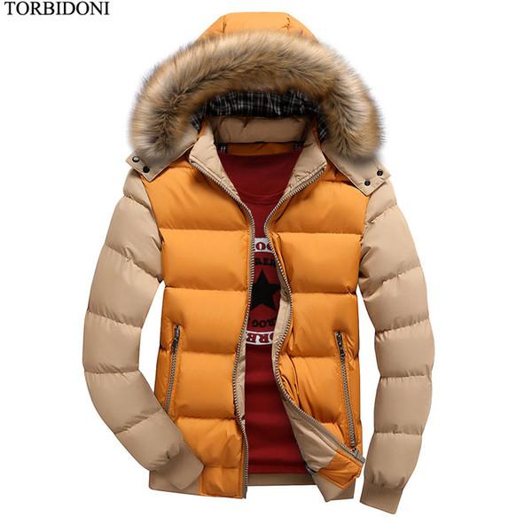 Casaco com capuz Jaqueta de Inverno Homens Jaqueta Outwear Quente New Men Patchwork Outwear Parka Moda Casual Masculino Parkas Tamanho M-4XL