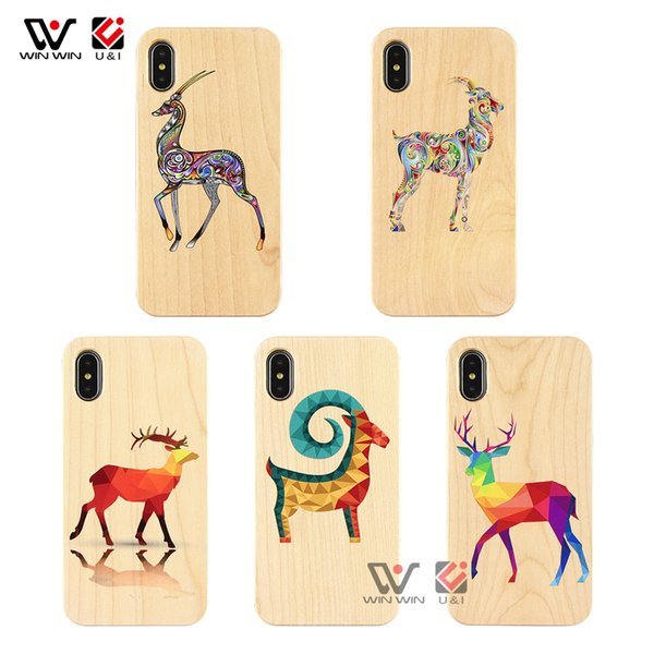Blank Bamboo Printing Pattern Wooden Cell Phone Cases For iPhone 5s 6s 6plus 7plus 8plus 7 8 x plus Wholesale Bulk Phone Accessories