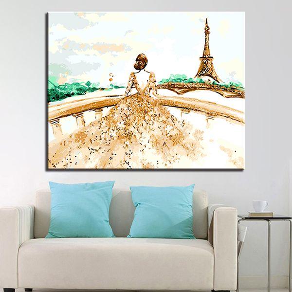 Acheter Diy Digit Peinture à L Huile Par Numéros Kits Coloriage Dessin élégante Dame Avec Paris Tour Toile Photos Mur Art Décor à La Maison De 27 73