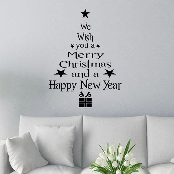 Christmas Graffiti Letters.Merry Christmas Decor Christmas Tree Letters Wall Stickers Art Decal Mural Glass Window Wall Sticker Xmas Home Room Decoration Graffiti Wall Stickers