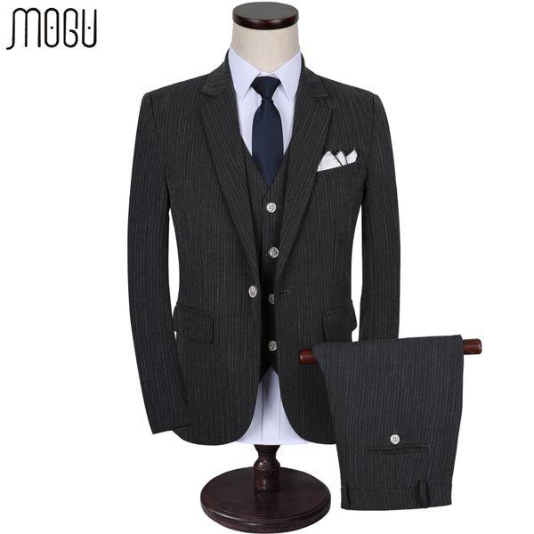 MOGU Three Piece Stripe Men's Costume 2017 High Quality New Arrival Fashion Slim Fit Casual Men Suits Asian Size 5XL Men's Suits
