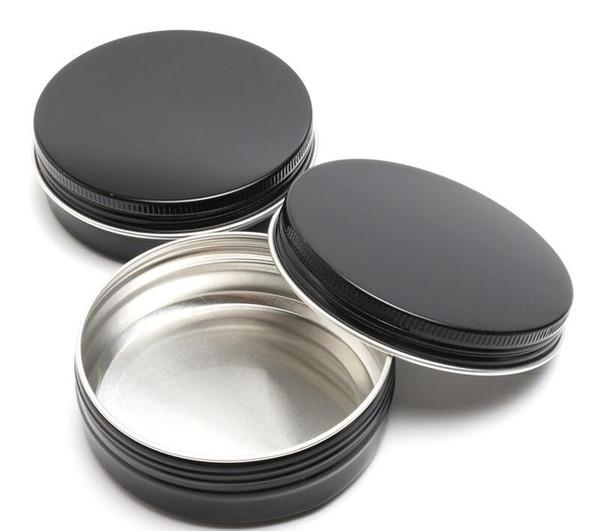 100ML Empty Cosmetic Cream Jars Aluminum Black Round Screw Thread Jar Cosmetics Packaging Container Lip Balm Pot Bottle
