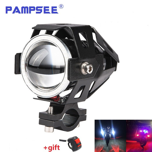 PAMPSEE 2PCS U7 Motorcycle LED Headlights 125W 3000ml Moto Auxiliary Head Lamp Lights 12V U7 LED Motobike Angel Eye Headlamp