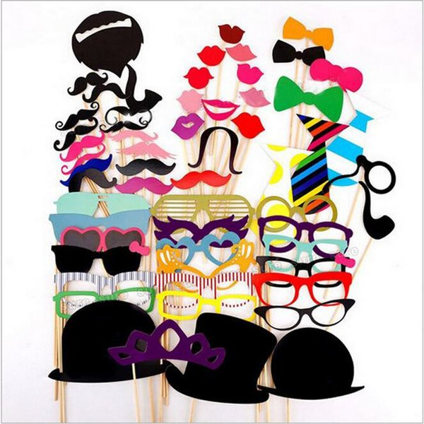 Lot58pcs/Set Funny DIY Photo Booth Props Glasses Mustache Lip On A Stick Wedding Birthday Party Fun Decoration Halloween Gift