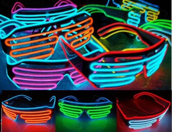 Multicolor Eyeglass Cold Lights EL Wire LED Light Glasses Party Supplies Cheerleading Cheer Props For Christmas Gift wn539C 100pc
