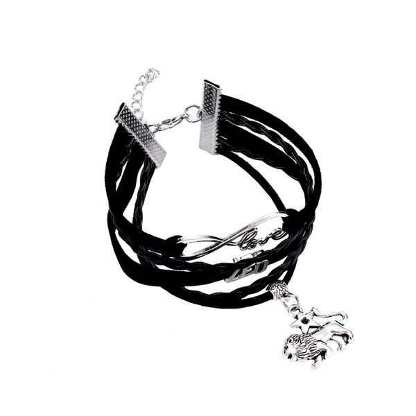 Fashion Personalized Unisex PU Leather Hand-woven 12 Constellation Bracelet Multi-layer Rope