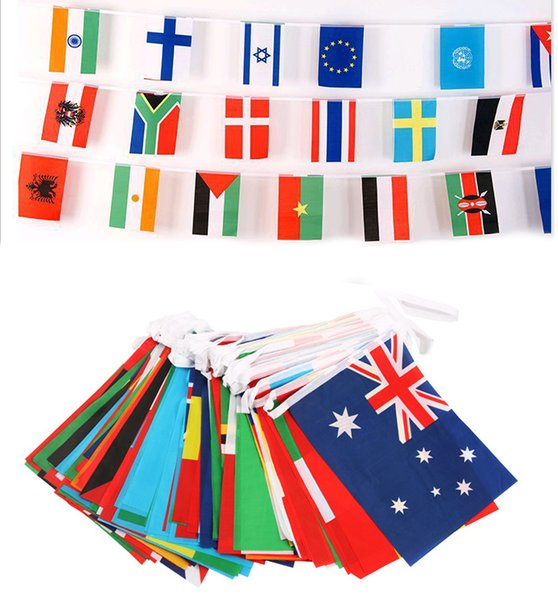 World cup flag foodball cup 32 top countries strings flags 14x21 & 20x30cm banner bar decoration indoor outdoor hanging flags
