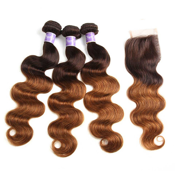 4/30 Ombre Bundles With Closure Body Wave Cheap Brazilian Colored Human Hair Weave 3 Bundles With 4x4 Lace Closure Brown Auburn Colors