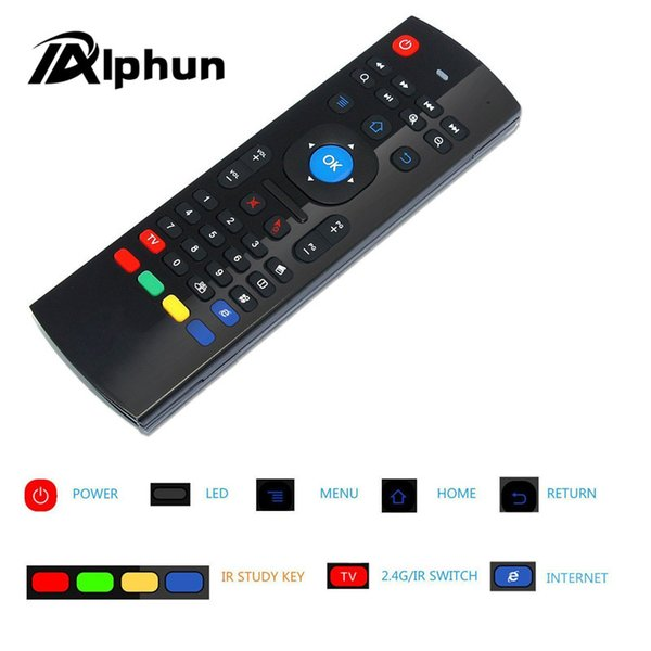 Alphun MX3 Portable 2.4G Wireless Air Mouse Remote Control Keyboard Controller for Smart TV Android TV box mini PC HTPC black