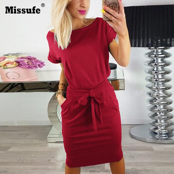 Missufe 5 Couleurs 2018 Robes Longueur Au Genou Streetwear Casual Slim Femmes Robes D'été T-shirt À Col O Avec Des Poches