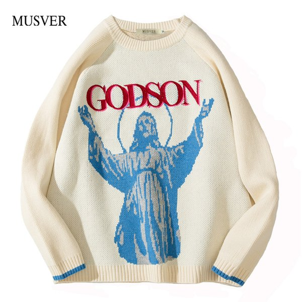 MUSVER God Son Embroidery Wool Pullover Loose Sweater Men Women 2018 Autumn Winter Korean Hip Hop Knitted Streetwear Sweater