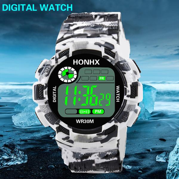 Fashion popular men's digital watch camouflage large screenLED display style luxury sports watch men's high-end waterproof