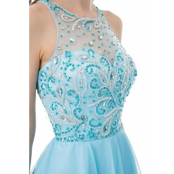 Real Crystal Beading Homecoming Dresses 2018 Short Prom Dress Jewel Sleeveless Cocktail Party Dresses Sweet 16 Dresses New Free Shipping