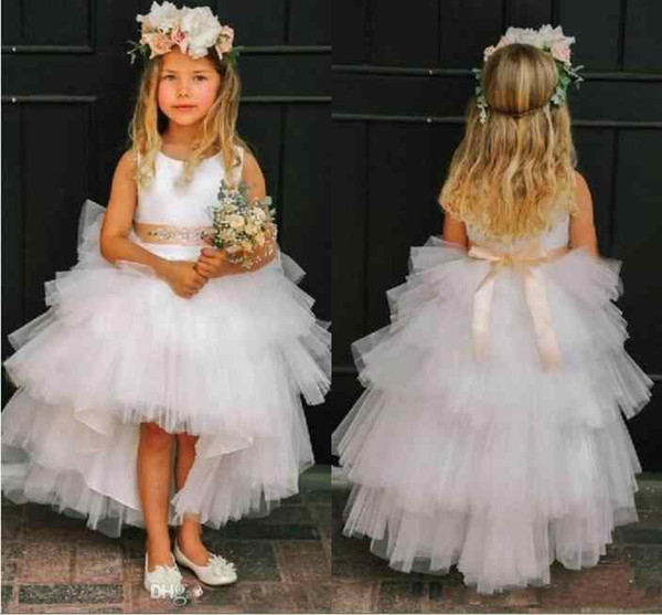 Jewel Sleeveless High Low Tulle Ribbon Crystal A Line Sleeveless New Coming Wedding Dress Flower Girl Dress
